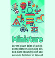 miniature concept banner cartoon style vector image vector image