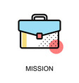 mission icon with briefcase on white background vector image