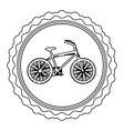 monochrome silhouette of bicycle in round frame vector image vector image