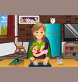 mother holding her baby while working at home vector image vector image