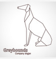 origami contours dog breed greyhound vector image vector image