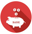 piggy bank flat icon with long shadow vector image