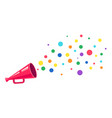 pink megaphone with rainbow vector image