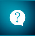 question mark in circle icon on blue background vector image vector image