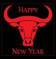 red black year ox chinese new year graphic vector image vector image