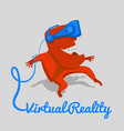 red man in a blue helmet of virtual reality vector image vector image