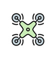 remote air drone aerial vehicle flat color line vector image