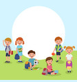 school or kindergarten outdoor on playground with vector image