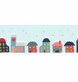 seamless border with cute hand drawn house vector image