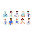 set doctors nurses and paramedics in face vector image vector image
