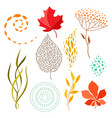 set of falling leaves vector image