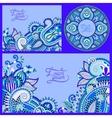set of floral blue background template frame vector image