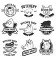 Set of pork meat labels butcher shop pig heads