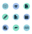 set of simple education icons vector image vector image