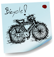 sketch drawing of bicycle on sticky paper vector image vector image