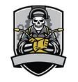 skull welder badge vector image vector image