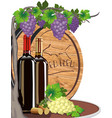 still life with wine and grapes and a wooden vector image vector image