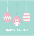 three painting egg shell cute rabbit hare with vector image