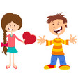 valentine card with happy girl and boy vector image