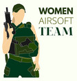 woman airsoft sport team vector image vector image