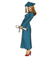 woman graduate isolated on white background vector image