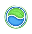 Eco logo green leaf and blue drop water ecology vector image