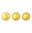3d realistic golden metal dollar coin icon vector image