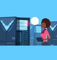 african american business woman working on digital vector image vector image