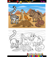 african mammals cartoon coloring book vector image vector image