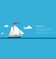 banner with yacht at sea vector image vector image