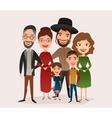 Big happy jewish family cartoon concept vector image vector image