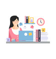 brunette businesswoman character sitting at the vector image vector image