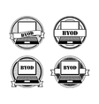 BYOD black and white stamps vector image