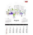 Calendar 2014 august Streets of the city sketch vector image vector image