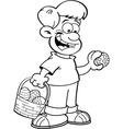 Cartoon Boy on an Easter Egg Hunt vector image