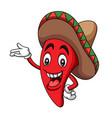 cartoon sombrero hot chili mascot vector image vector image