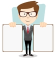 Cartoon teacher in glasses holding two posters vector image