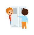 classmate mocking a boy who hiding behind the door vector image vector image