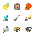 Coal icons set cartoon style vector image vector image