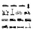 collection transport icons silhouettes vector image
