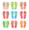 colorful flip flops set in watercolor vector image vector image