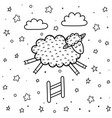 coloring page for kids with a cute sheep jumping vector image