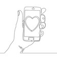 continuous line mobile phone with heart icon vector image