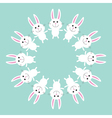 Cute bunny rabbit Round frame Flat design vector image vector image