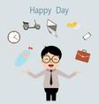 cute cartoon happy business man vector image