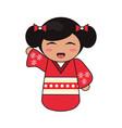 cute kokeshi doll tradition japanese vector image vector image