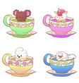 cute little funny kawaii animal koala parrot vector image vector image