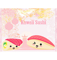 cute sushi cartoon - card vector image