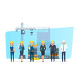 engineers set with construction workers team on vector image vector image