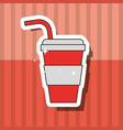 fast food beverage soda in paper cup with straw vector image